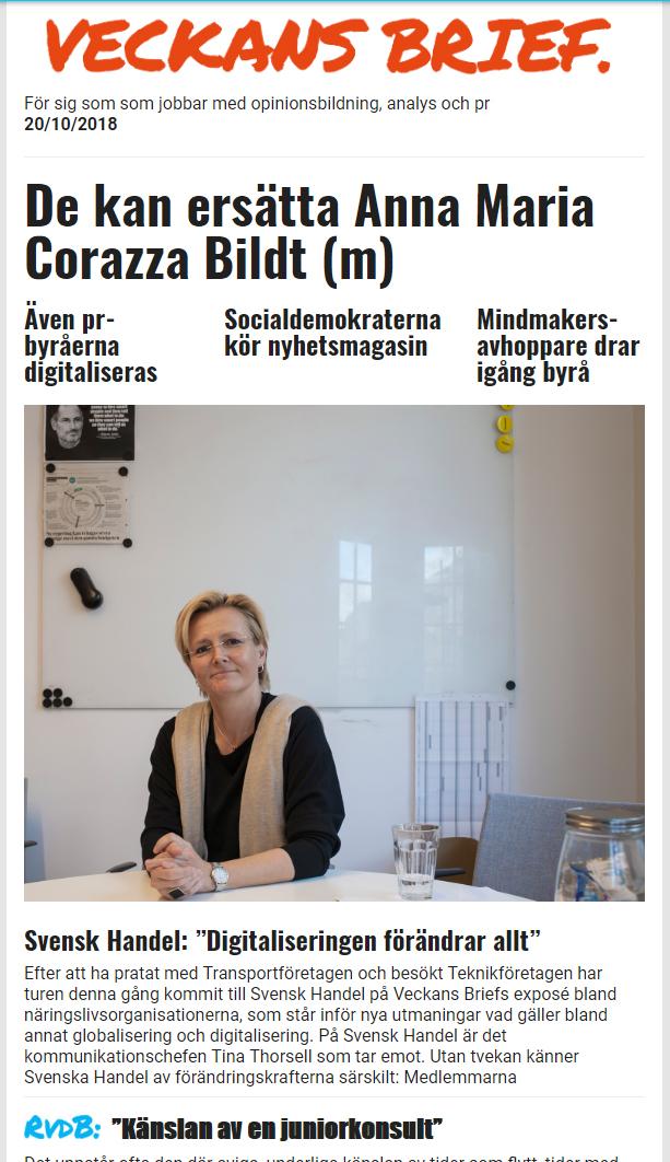 495bf3c33091 Veckans Brief: Veckans Brief 33: Moderaterna vill peta sin EU-kändis –  Svensk Handel transformeras av digitaliseringen